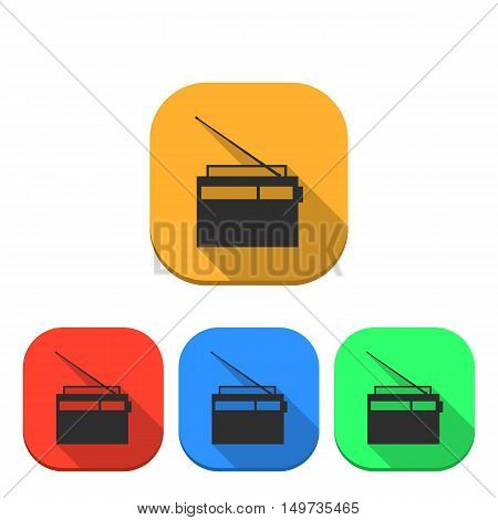 Set of colored icons retro radio with a long diagonal shadow digital device design element vector illustration.
