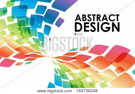Colorful curve abstraction on white background vector template