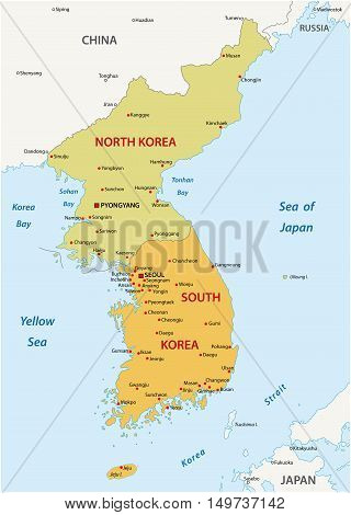 South Korea and North Korea political map