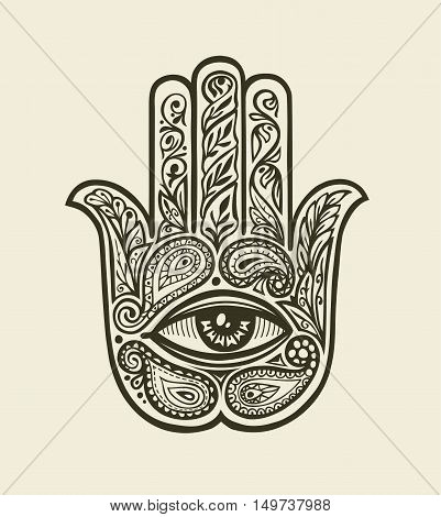Ornate Hamsa Hand of Fatima. Hand drawn ethnic amulet in decorative style. Vector illustration