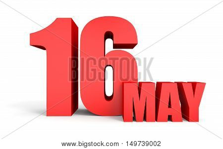 May 16. Text On White Background.