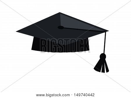 Black graduation cap. Mortar board. Education symbol. in flat design on white background. Vector illustration.