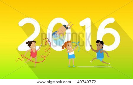 Sport banner 2016. Running, gymnastics, swimming and archery sport discipline. Different sports, athletes, sport competition.