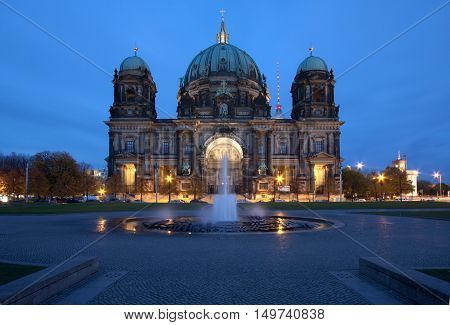 Germany: Berlin Cathedral at dusk; frontal view
