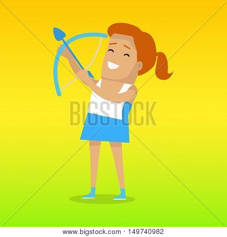 Archery sport template. Practice or skill of using a bow to propel arrows. Vector illustration