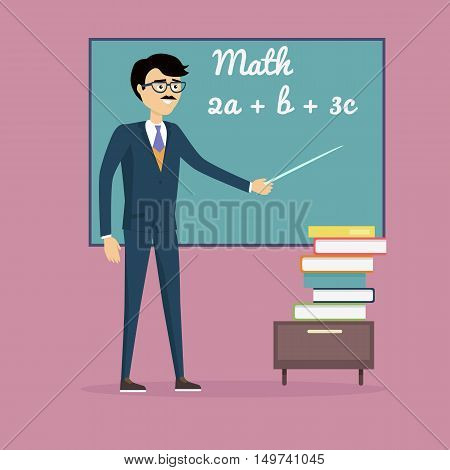 Mathematics lesson concept vector. Flat design. Teacher character with pointer at blackboard with mathematical equations and stack of books below.