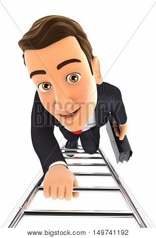 3d businessman climbing up the ladder illustration with isolated white background