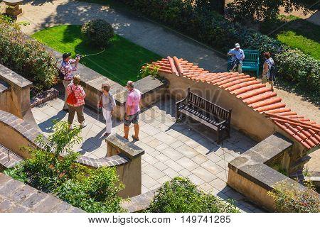 Prague, Czech Republic - August 20, 2011: Unidentified People Visit Famous  Garden In Prague Castle,