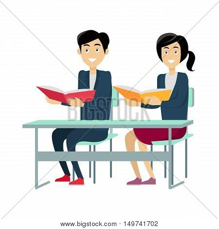 Pupils with textbooks sitting at a school desk. Studying in classroom. Smiling pupils in school uniform. Learning process. Schoolgirl and schoolboy personage. Vector illustration on white background