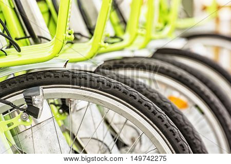 Bicycle rental in the centre of Budapest Hungary. Urban bikes. modern lifestyle theme.