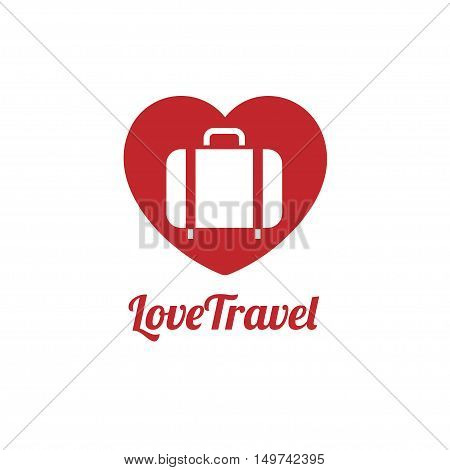 love traveler icon, Travel bag vector logo icon. love, Sea, summer and holiday symbol. Stock design element