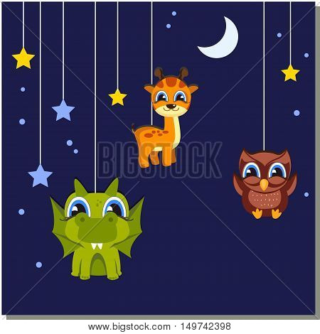 Kids backgrounds. Toys hanging on a string: star giraffe dragon owl. The design is suitable for the decoration of children's greeting cards posters calendars web banner