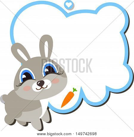 Baby bunny with a carrot and a frame for your message. Cartoon style isolated on white background