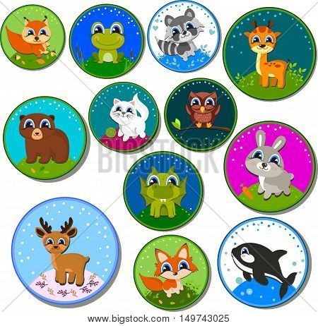 Set of stickers. Big collection of cute cartoon animals. Big fauna of the world icon set.Vector illustration isolated on white
