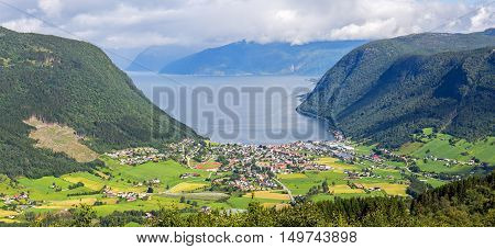 Aerial View Of Vik And The Sognefjord, Norway