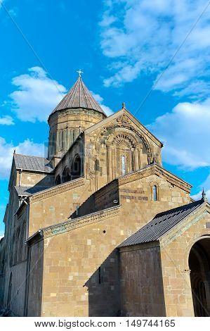 Georgia. Attractions Mtskheta - Svetitskhoveli Cathedral. vertical photo.