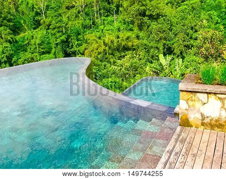 Bali, Indonesia - April 13, 2014: View of swimming pool at Ubud Hanging Gardens 5 stars hotel