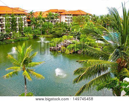 Bali, Indonesia - December 25, 2008: The Lagoon and park in Ayodya Resort Bali at Nusa Dua, Bali, Indonesia