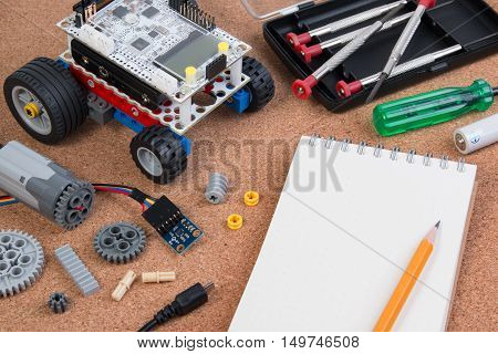 Start Learning Robotic, Building A Simple Car Robot With Microcontroller And Notebook.