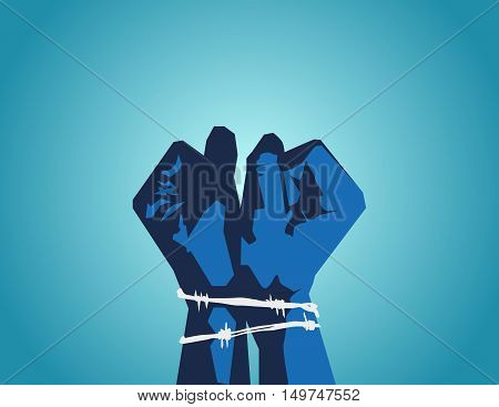 Catch Opponents Or People Of Different Opinions. Prisoners. Hands Tied With Barbed Wire.  Vector Fla