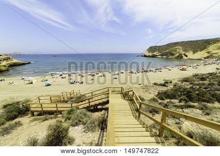 Aguilas, Spain - June 05 People enjoying on the beautiful cove of La Carolina. Aguilas, Murcia June 05, 2016