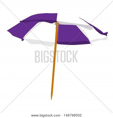 Vector illustration purple and white summer beach umbrella isolated on white background. Colorful beach umbrella
