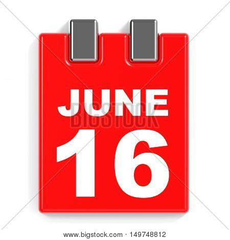 June 16. Calendar On White Background.