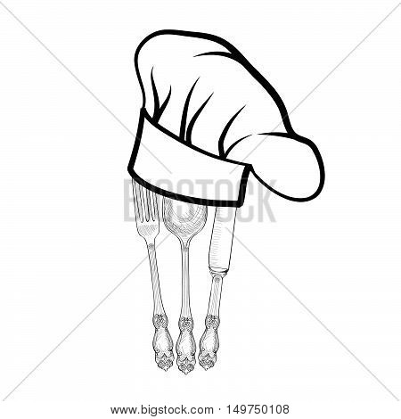 Chef cook hat with fork spoon and knife hand drawing sketch label. Cutlery icon. Catering and restaurant service insignia. Restaurant symbol chef cook hat.