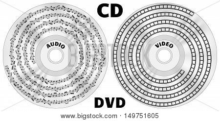 CD or DVD disks with displayed audio files as notes track and as video files with film strip track vector illustration isolated on white background