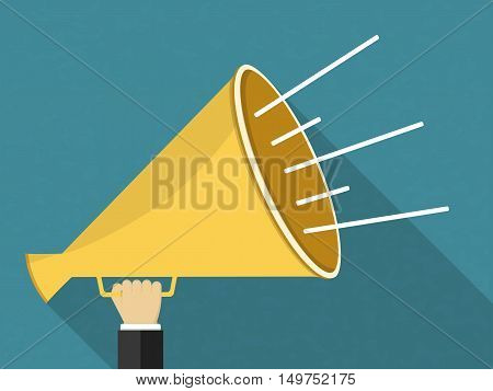 Hand with megaphone, flat design with long shadow, vector eps10 illustration