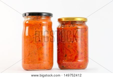 Traditional Macedonian food. Ajvar in jar . homemade product