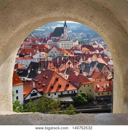View of Cesky Krumlov from the castle bridge window