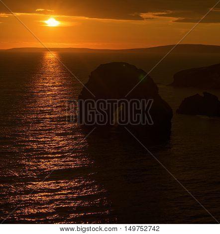 virgin rock sunset on the coastline of ballybunion county kerry ireland