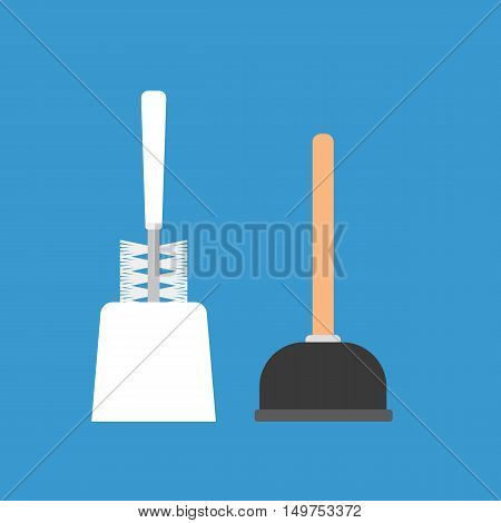 Objects for cleaning sanitary equipment - toilet brush and plunger