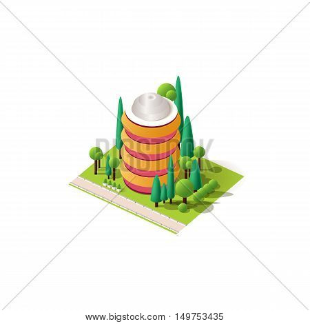 Stock vector illustration isometrics isolated multi-storey building with offices and skyscraper with apartments, arranged territory for business center on a white background