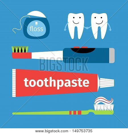 Set for cleaning teeth - toothpaste, toothbrushes, dental floss and teeth