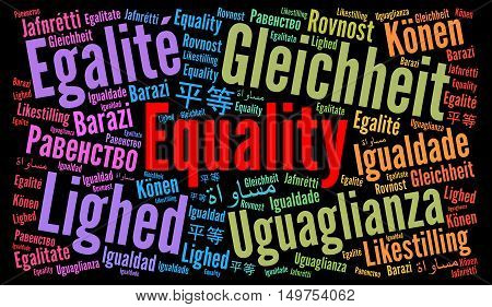 Equality word cloud in different languages with z black background