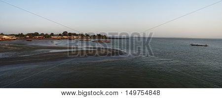 Estuary of Gambia river and fisherman bay Gambia