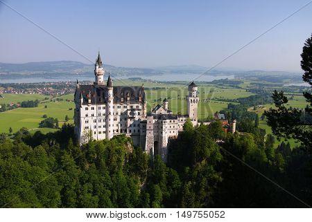 Neuschwanstein castle view from Marienbrucke Bayernm Germany