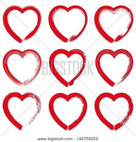 Set of red grunge hand drawn hearts on white background vector illustration. Hand drawn brush stroke