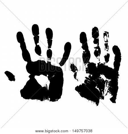 Human hand  grunge paint on white background vector illustration. Handprint. Imprint of human hands