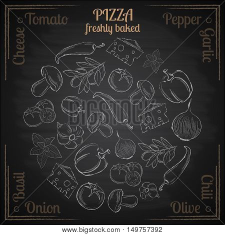 White hand drawn natural ingredients pizza on black background vector illustration
