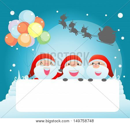 santa and greeting Christmas and New Year card, santa claus peeping behind placard, kids in santa claus costume characters celebrate, Cute little christmas collection, happy new year, Vector