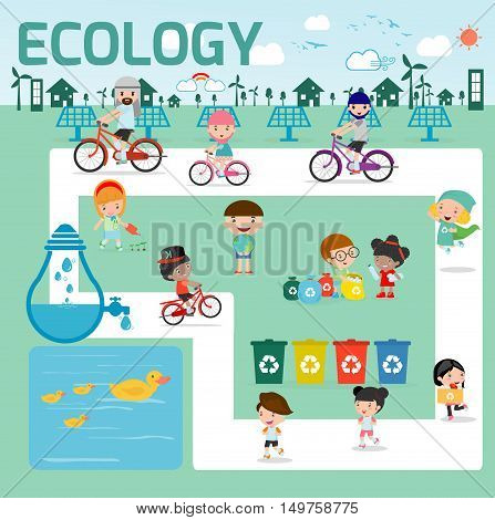 ecology concept. flat design illustration, Kids for Saving Earth ,Save the world, people save planet,save the water ecology concept, cartoon character, Ecology infographics