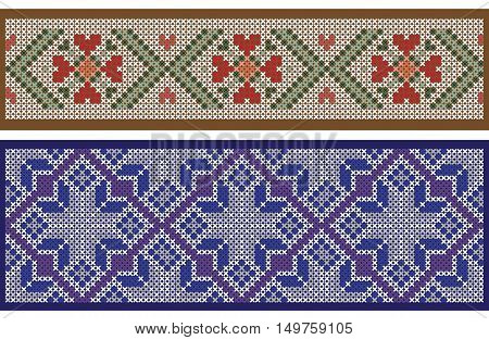 Seamless ribbon patterns, separated from background, cross-stitch embroidery imitation. Pattern brushes are included in vector file.
