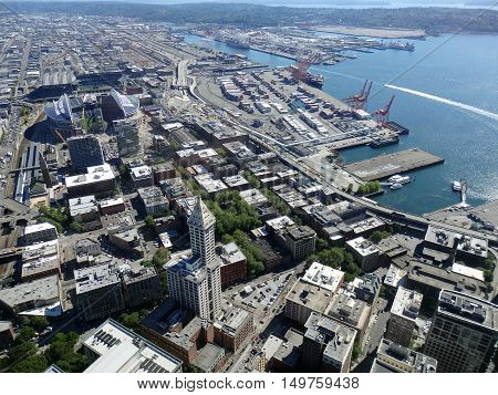 SEATTLE-- JUNE 25: Big beautiful view of Smith Tower building 38-story 149 m tall building was completed in 1914 Seattle downtown Stadiums and waterfront from a high vantage point on June 24 2016 in Seattle WA.