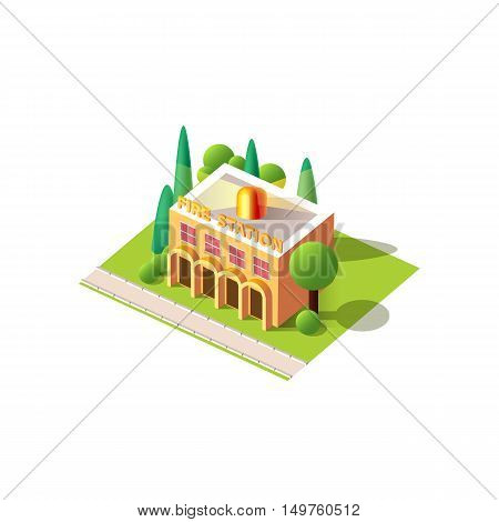 Stock vector illustration isometrics isolated fire station building with arranged territory for business center on a white background