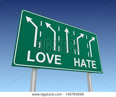 love hate road sign 3d concept illustration on sky background