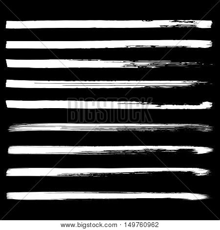Set of black hand drawn lines on white background vector illustration. Hand drawn brush stroke