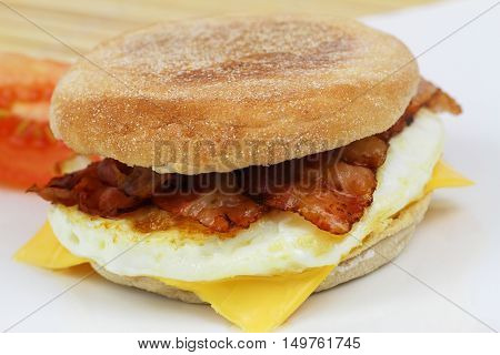 Muffin with fried egg and bacon, closeup